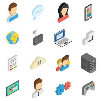 Zestaw ikon izometryczny w internecie