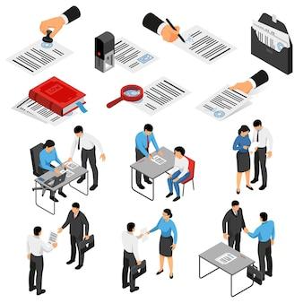 Zestaw ikon izometryczny z notariusza i klientów podczas dokumentów pracy i akcesoria na białym tle