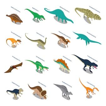 Zestaw ikon izometrycznych dinozaurów