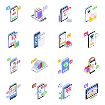 Zestaw ikon izometrycznych edukacji mobilnej