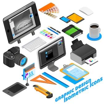 Zestaw ikon izometrycznych projektowania graficznego