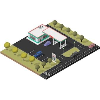 Zestaw ikon izometrycznych reprezentujących małą stację benzynową