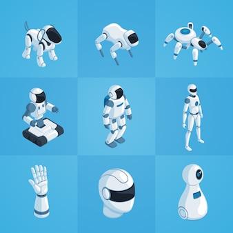Zestaw ikon izometrycznych robotów