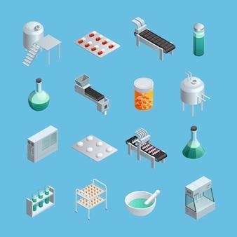 Zestaw ikon izometrycznych różnych elementów produkcji farmaceutycznej