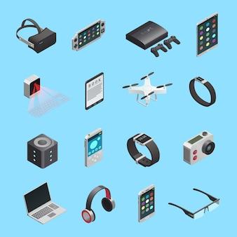 Zestaw ikon izometrycznych różnych gadżetów elektronicznych do komunikacji z muzyką i innymi