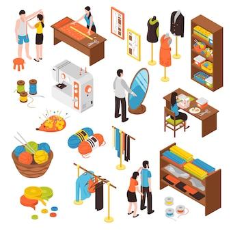 Zestaw ikon izometrycznych studio atelier