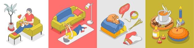 Zestaw ikon izometrycznych stylu życia hygge reszta z miękkimi, przytulnymi ubraniami dla kota i ciepłą ilustracją napojów