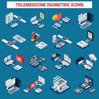Zestaw ikon izometrycznych telemedycyny