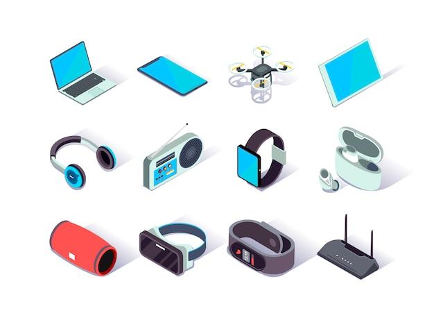 Zestaw ikon izometrycznych urządzeń i gadżetów.