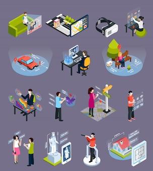 Zestaw ikon izometrycznych wirtualnej rzeczywistości rozszerzonej