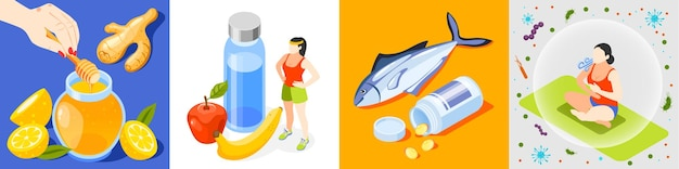 Zestaw ikon izometrycznych wzmacniania odporności z miodem i cytrusami sport i zdrowa żywność ryby i witaminy joga i ilustracja prawidłowego oddychania