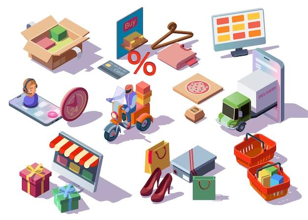 Zestaw ikon izometrycznych zakupów online z urządzeniami cyfrowymi i odzieżą sklepów e-commerce zamówień, pudełek, toreb z zakupami.