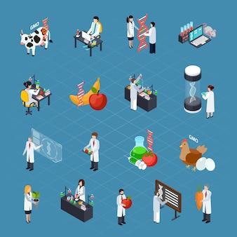 Zestaw ikon izometrycznych związanych z gmo