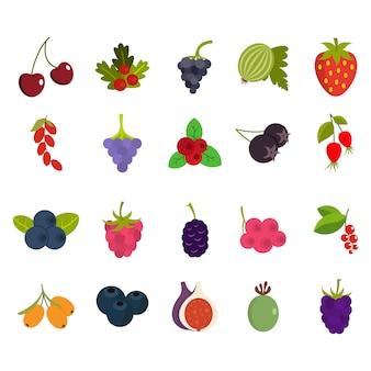 Zestaw ikon jagody. płaski zestaw jagód wektor zbiory ikon na białym tle