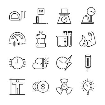Zestaw ikon jednostek miary.