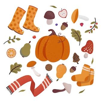 Zestaw ikon jesień z żołędzi, szyszek, grzybów, dyni, spadających liści i napisu. kolekcja notatnik elementów jesieni. jesień z życzeniami