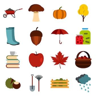Zestaw ikon jesieni, płaskie ctyle