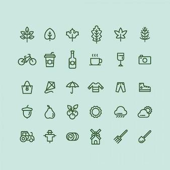 Zestaw ikon jesieni