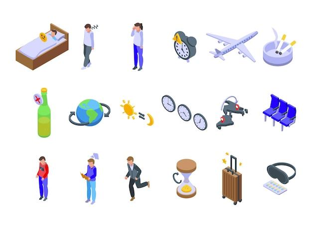 Zestaw ikon jet lag. izometryczny zestaw ikon wektorowych jet lag do projektowania stron internetowych na białym tle