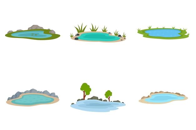 Zestaw ikon jeziora. płaski zestaw ikon wektorowych jeziora na białym tle