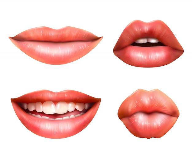 Zestaw ikon języka ciała w ustach