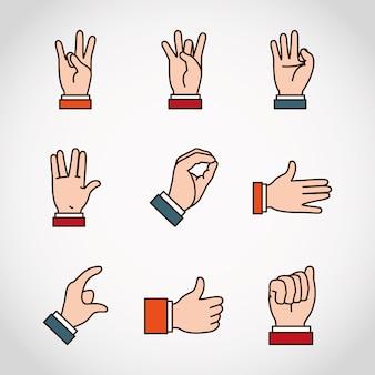 Zestaw ikon języka migowego i wyrażeń rąk.