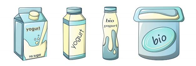 Zestaw ikon jogurtu, stylu cartoon