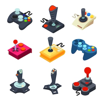 Zestaw ikon joysticka. izometryczny zestaw ikon joysticka do projektowania stron internetowych na białym tle