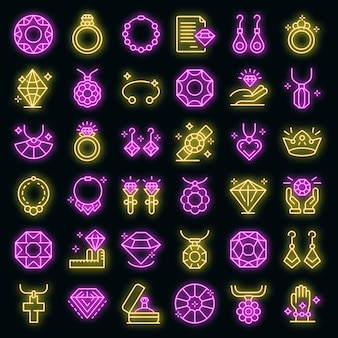 Zestaw ikon jubilera. zarys zestaw jubilerskich ikon wektorowych w kolorze neonowym na czarno