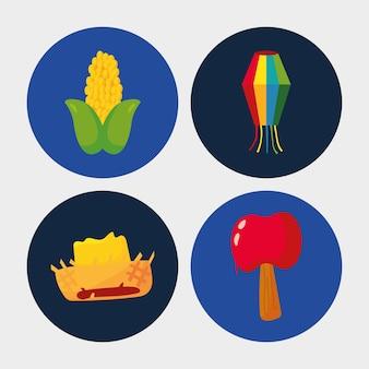 Zestaw ikon junina