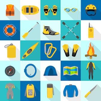 Zestaw ikon kajak rafting, płaski