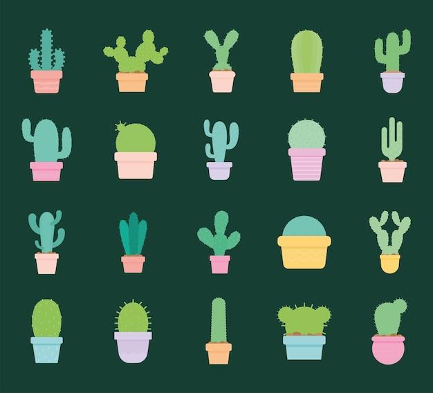 Zestaw ikon kaktusów na zielony projekt ilustracji