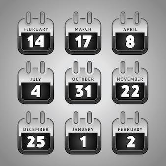 Zestaw ikon kalendarza internetowego