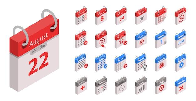 Zestaw ikon kalendarza. izometryczny zestaw ikon wektorowych kalendarza na projektowanie stron internetowych na białym tle