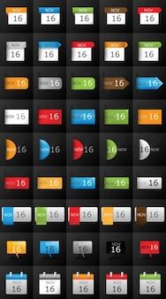 Zestaw ikon kalendarza na blogach