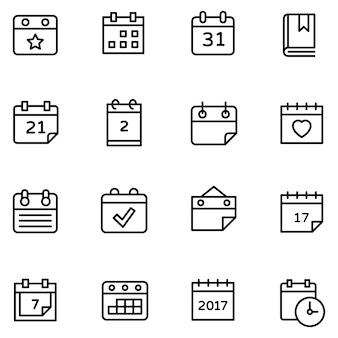 Zestaw ikon kalendarza tabeli
