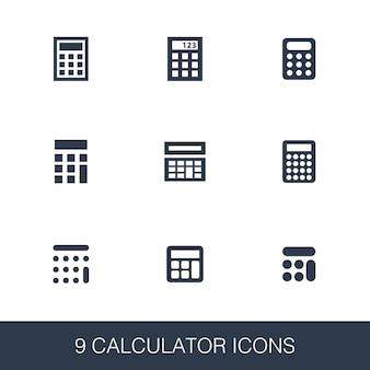 Zestaw ikon kalkulatora. proste znaki glifów. szablon symbolu kalkulatora. uniwersalna ikona stylu, może być używana w interfejsie internetowym i mobilnym
