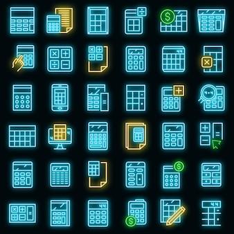 Zestaw ikon kalkulatora. zarys zestaw ikon wektorowych kalkulatora w kolorze neonowym na czarno