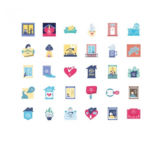 Zestaw ikon kampanii zostaje w domu, zapobieganie koronawirusom