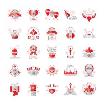Zestaw ikon kanada dzień, święto narodowe