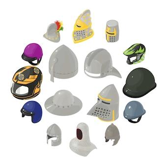 Zestaw ikon kapelusz kask, izometryczny styl