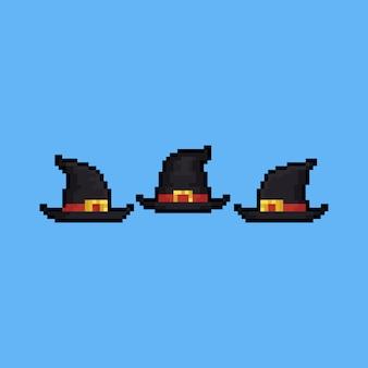 Zestaw ikon kapelusz kreskówka czarownica sztuki pikseli.
