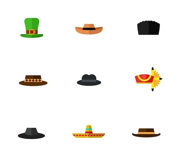 Zestaw ikon kapelusz