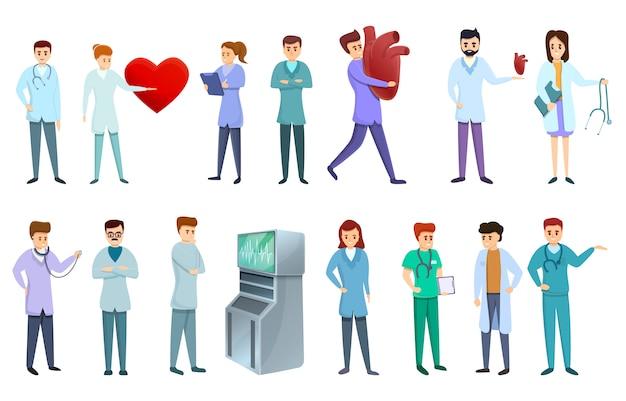 Zestaw ikon kardiolog, stylu cartoon