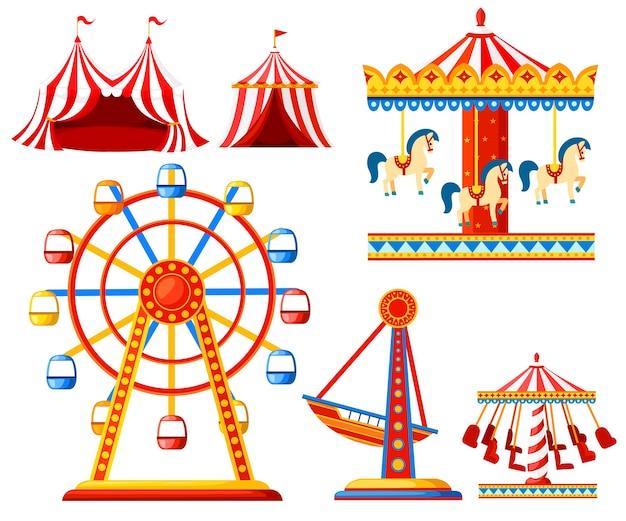 Zestaw ikon karnawał cyrkowy. kolekcja parków rozrywki. namiot, karuzela, diabelski młyn, statek piracki. . ilustracja