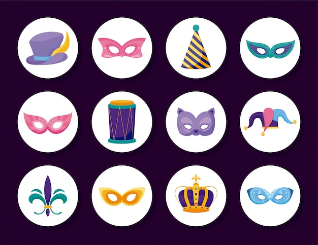Zestaw ikon karnawał na białym tle mardi gras wewnątrz kręgów