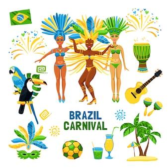 Zestaw ikon karnawał w brazylii na białym tle