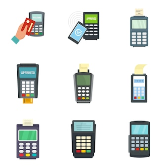 Zestaw ikon kart kredytowych terminalu bankowego