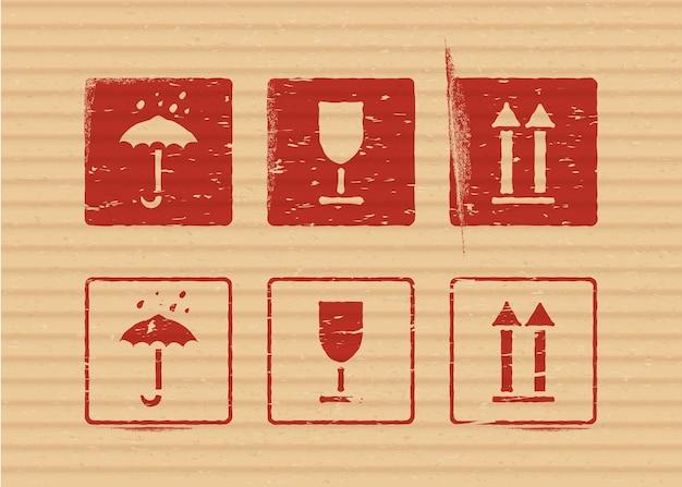Zestaw ikon kartonowych pudełek ładunku wektor zestaw delikatny, utrzymuj suchość, top dla logistyki lub pakowania. środki wymagające ochrony przed wilgocią, kruchością ładunku, w górę.