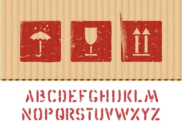 Zestaw ikon kartonu wektor ładunku zestaw kruche, utrzymuj suchość, górną i skrzynkową czcionkę do logistyki lub pakowania. środki wymagające ochrony przed wilgocią, kruchością ładunku, w górę.
